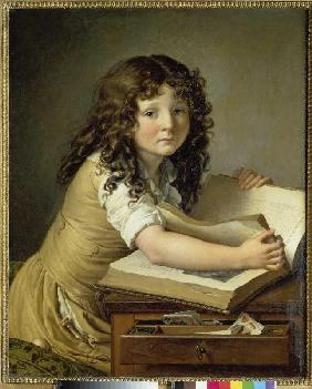 Young girl when looking at a picture book.