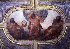 Hercules Supporting the World Flanked by Euclid and Ptolemy, from the 'Camerino'