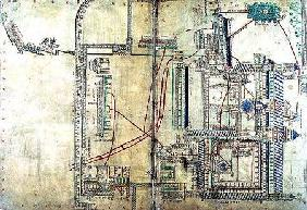 Ms R 171 f.285 Plan of Canterbury Cathedral and the plumbing system