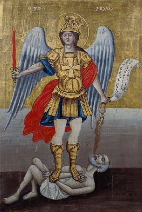 Archangel Michael: Greek icon from the Cyclades