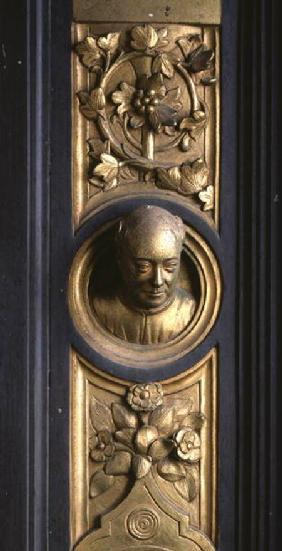 Self portrait of the sculptor Lorenzo Ghiberti (1378-1455) a roundel from the frame of the Gates of
