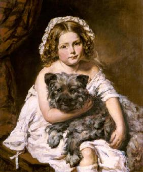 Young girl with her dog, formerly attributed to Sir Edwin Landseer (1802-73)