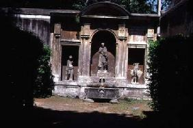 View of the gardendetail of fountain with Roman sarcophagus and statuary