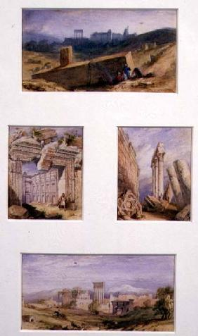 Four Views of Baalbeck, Lebanon: Top, General View of the Temples; Mid left, Temple of Bacchus; Mid