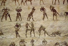 Wrestlers, detail from a tomb wall painting,Egyptian