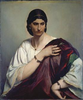 Lucrezia Borgia; Portrait of a Roman woman in white tunic and red robe