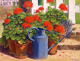 The blue watering can, 1995 (pastel on paper)