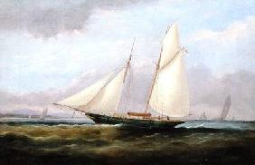 A Schooner Yacht under Easy Sail, with her Foresail Lowered