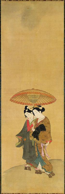 Two Lovers under an Umbrella (ink & colour on silk)
