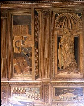 The Study of Federigo da Montefeltro, Duke of Urbino: intarsia panelling depicting (L) an open cupbo