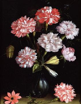 Floral Study: Carnations in a Vase (oil on panel)