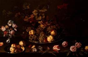 Still Life of Fruit, Flowers and Shells