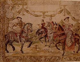 Johann Graf of Nassau with his wife as well as his nurse and sister-in-law to horse