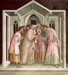 Judas Receiving Payment for his Betrayal, from a series of Scenes of the New Testament (fresco)