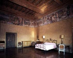 Bedroom decorated with a frieze depicting towns under Medici rule