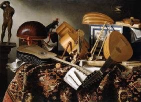 Musical instruments, sheets of music and books