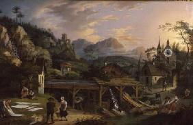 Picture Clock with scene of an Alpine village landscape with clock mechanism in church tower