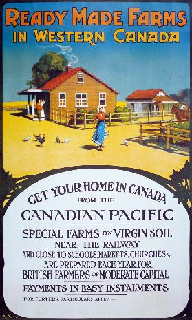 Poster advertising 'Ready made farms in Western Canada', c.1900 (colour litho)
