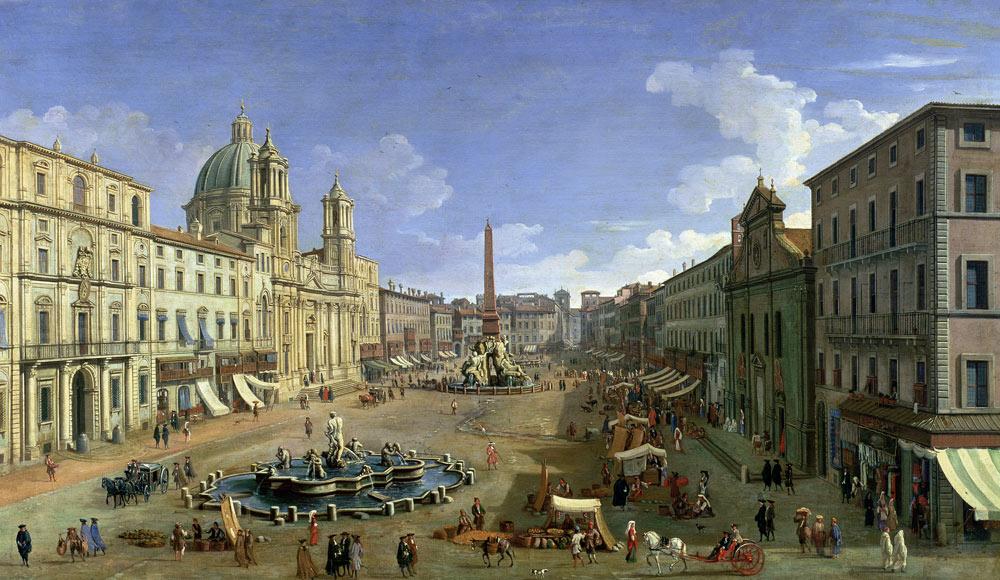 Veduta di Piazza Navona, Roma - quadro di Canaletto riproduzione stampata o  copia dipinta a mano e ad olio su tela
