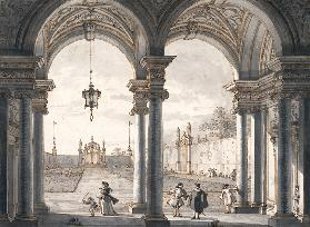 View through a Baroque Colonnade into a Garden