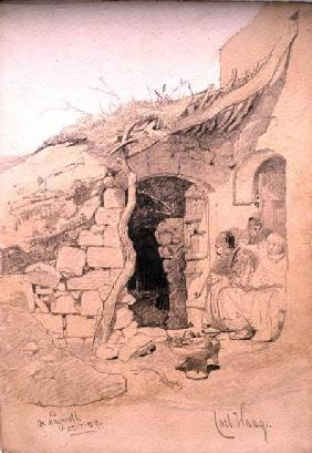 Three figures seated outside a house, Nazareth