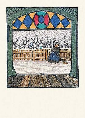 Snow-swept woman. Christmas card of the Wiener Werkstätten, No.762