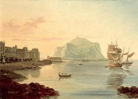 Palermo Harbour with Mount Pellegrino, 1831 (oil on canvas)