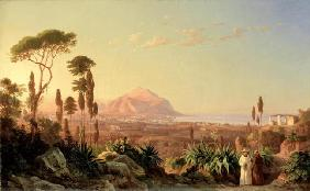 Palermo with Mount Pellegrino, c.1850 (oil on canvas)
