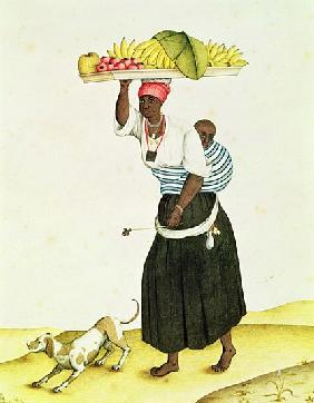 A Woman Carrying a Tray of Fruit on her Head