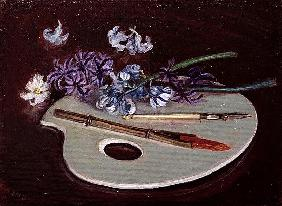 Porcelain Palette with Flowers (oil on canvas)
