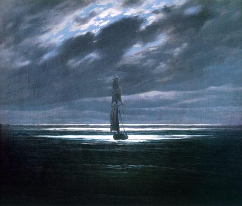 Mare al chiaro di luna quadro di caspar david friedrich riproduzione stampata o copia dipinta - Il giardino al chiaro di luna ...
