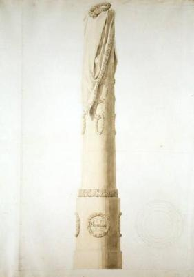 Design for a Commemorative Column (pen, pencil and sepia on