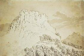 Rocky Hilltop with a Wooded Hill in front (pencil, pen and w/c wash on
