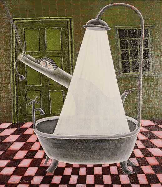 The Shower, 1990 (oil on board)