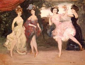 Four Dancing Girls on the Stage