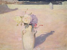 Flowers in a Vase against a background of Mustapha, Algiers