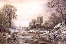 Worcester from the South West in the Snow