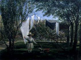 A Garden Scene, with a boy, the artist's son George Dunlop Leslie
