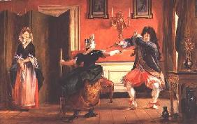Jourdain Fences his Maid, Nicole with his Wife Looking on. Scene From 'Le Bourgeois Gentilhomme', Ac