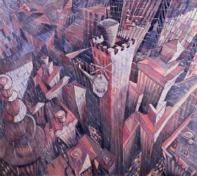 Downtown Manhattan Hailstorm, 1995 (oil on canvas)