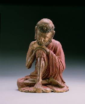 Red lacquer figure of Sakyamuni, the founder of the Buddhist faith, emerging from the mountains, Yan