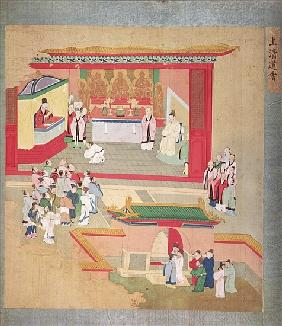 Emperor Hui Tsung (r.1100-26) practising with the Buddhist sect Tao-See, from a History of the Emper
