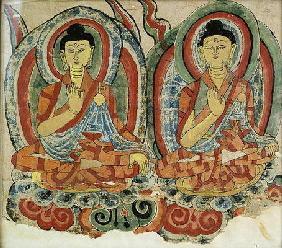 Seated Buddha Sakyamuni and Baistrajyaguru, Dunhuang (gouache on paper)