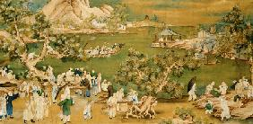 A Lake Scene With Figures Celebrating A Festival