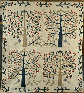An Appliqued Cotton Quilted Coverlet American, Mid 19th Century