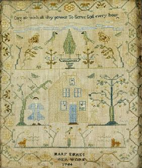 Silk-On-Linen Needlework Sampler