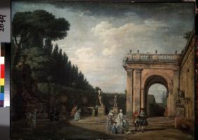 View in the Park of the Villa Ludovisi in Rome