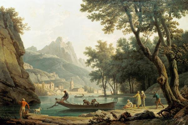 Fisherman at the lakeside in front of a cloister
