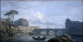 View of the Bridge and Chateau of St. Angelo, Rome
