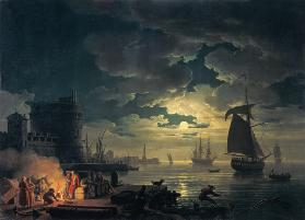 The Port of Palermo in the Moonlight